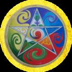 pentagram met daarin de 5 elementen; vuur, water, lucht, aarde en ether